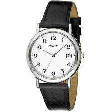 Accurist Gents White Dial Leather Strap Watch MS708WA