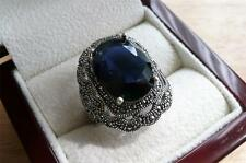 LARGE OVAL LAB BLUE SAPPHIRE & MARCASITE 925 STERLING SILVER RING SIZE R US 9