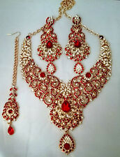 Indian Bollywood Red Gold Crystal Jewellery set inc Necklace, Earring and Tikka
