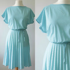 VINTAGE 1970S 80S BLUE SLOUCHY CASUAL SUMMER SPORTY BLUE DAY MIDI DRESS 12