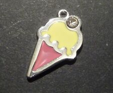 5pc Enamel Silver Plated Food Ice Cream Lucky Charm Pendant Tag 24mm