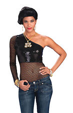 Womens Black Mesh Sequin Top Fancy Dress Costume Punk Rocker Gothic Outfit