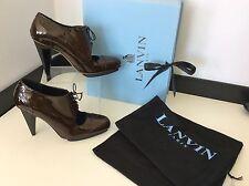 Lanvin Shoe Boots, Heels, Brown Patent Leather Uk 4 Eu 37, Cone Heel, RRP £435