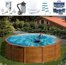 Pool-Set FEELING Rundbecken in Holzoptik 460x120 cm mit Sandfilter Schwimmbecken