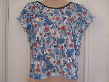 Pretty River Island size 10 sheer lace top with colourful pansies pattern