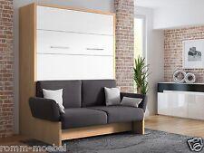 Schrankbett/Wandbett/Klappbett- Sofa WBS 1 Soft - 160 x 200 cm Holz. Buche Weiß