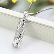 Charm 925 Sterling Silver Hollow Cylinder Inlay Cubic Zirconia Pendant Necklace