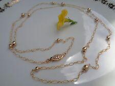 Goldkette, lang, in 585 Goldfilled, in zartem Design mit Kugeln