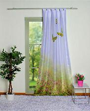 Schlaufenschal Vorhang blickdicht Deko Seidenoptik Schmetterlinge Wiese grün
