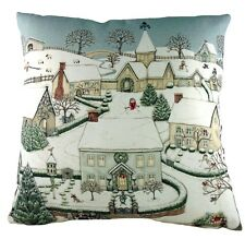 """Sally Swannell Snowy Village Christmas Cushion Cover, 17""""x17"""" approx Made in UK"""