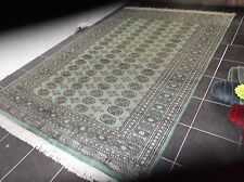 LARGE,  GREEN BOKHARA, HAND-KNOTTED, PURE, WOOL RUG...8' x 5'.....FREE DELIVERY.