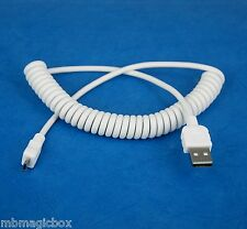 Charger ONLY Coiled Micro USB Cable WHITE 4 Amazon Kindle Fire 7 HD 6 8 10 HDX