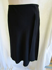 SUZANNEGRAE, Black, Unlined, Faux Wrap Skirt, Zip, Belt Loops, Size 14, Exc Cond