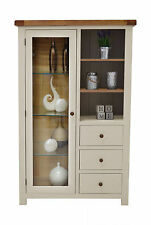 Croft Painted Display Cabinet / Oak Combination Chest / Living Room Furniture