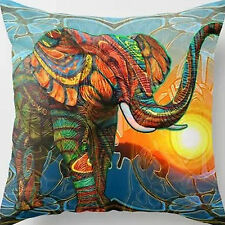 18'' Cotton Velvet Colorful Elephant Throw Cushion Cover Pillow Case Home Decor
