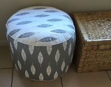 Large Leaf Feather Pouf Ottoman Floor Cushion Bean Bag Chair Grey & White