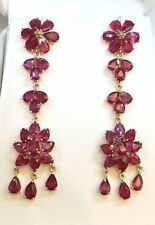 14k Solid Yellow Gold Cluster Long Dangle Stud Earrings,Natural Ruby 18TCW