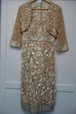 MOTHER OF BRIDE,OCCASION,COCKTAIL PARTY,WEDDING DRESS & BOLERO JACKET,10,BEIGE