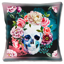 """Retro Kitsch Sugar Skull Day of the Dead Blue Pink Red 16"""" Pillow Cushion Cover"""