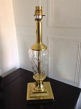 VINTAGE BHS BRASS & CUT GLASS LAMP BASE GREAT CONDITION & SAFETY TESTED