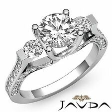 2ct Round Diamond Engagement 3 Stone Magnificent Ring GIA F VVS2 14k White Gold