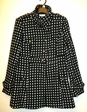 TOMMY & KATE BLACK & WHITE SPOTTED WOOL BLEND COAT SIZE 12 NEW & TAGGED