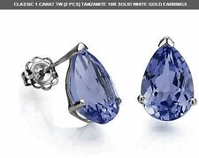 TANZANITE 1 CWT 10K SOLID WHITE GOLD EARRINGS NATURAL STONES VALENTINES GIFT