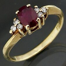 Mouth watering Red TOURMALINE & 6 DIAMOND 9ct GOLD RING solid yellow Sz K