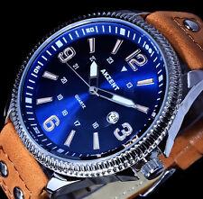 Akzent Uhr Herrenuhr Armbanduhr Hellbraun Blau Silber Farben Datum Nieten