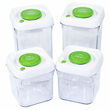 4 Piece Pump Fresh Vacuum Lid Food Storage Canisters Containers Set Kitchen Jars