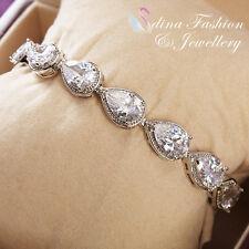 18K White Gold Filled Cubic Zirconia Lovers Teardrop Silver Tennis Bracelets