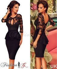 Ladies Womens Dress Black Midi Bodycon Party.Floral Lace Celeb Long Size 12 14 M