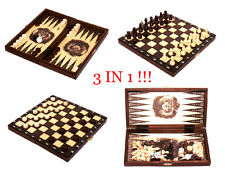 Chess + Draughts (Checkers) & Backgammon Beautiful Wooden Set of 3 Board Games!