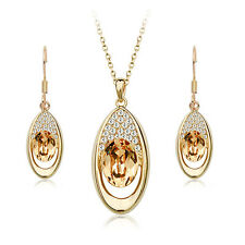 18K ROSE GOLD PLATED AND GENUINE CZ & AUSTRIAN CRYSTAL NECKLACE & EARRING SET