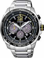 Citizen Eco-Drive Steel Mens Chronograph Watch. Sporty. Look Sharp. CA4234-51E