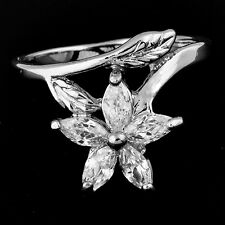 fashion jewelry Womens Ring Clear CZ Leaf  Flower White Gold Filled Size 7.5