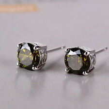 Vintage classic wedding earring! 18K White gold filled peridot stud earring