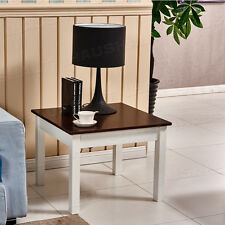 Brown  Wood Coffee Table White Legs Square Living Room End Table Furniture