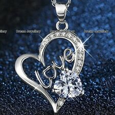 CHRISTMAS GIFTS FOR HER Crystal Heart Necklace Women Girls Wife Daughter Mum K2