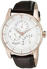 Kenneth Cole NY Men's Chrono Rose Gold S. Steel Brown Leather Watch 10020815