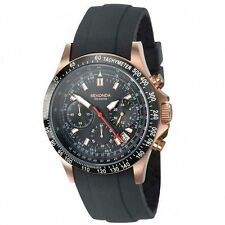 /Sekonda Men's Black Dial Chronograph Black Silicone Strap Watch 3101