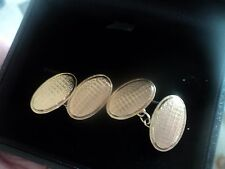 Attractive 9ct Rose & Yellow Gold Cufflinks h/m London 1933 in box -  not plated
