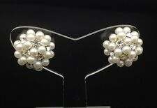 Crystal Pearl Cluster Ball Clip On Earring Swarovski Non-pierced Wedding Silver