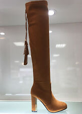 LADIES WOMENS OVER KNEE CAMEL/BROWN SUEDE FAUX HIGH HEEL BOOTS SHOES SIZE 4