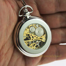New Silver Men's Vintage Mechanical Pocket Watch with Chain Steampunk Style