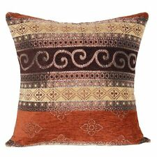 FAULTY Brown, Dull Gold Pattern Ethnic Traditional Cushion Covers For Sofa Bed