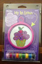 Purple cupcake with berry on top Kids Counted Cross Stitch Kit with frame 45451