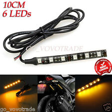 Mini Strip Black 6 LED 12V Motorcycle Turn Signal Universal Amber Lights Strip
