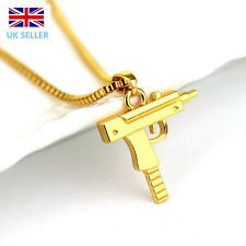 Gold Plated Unisex Mens Womens Machine Gun Pendant Necklace Long Chain Jewellery