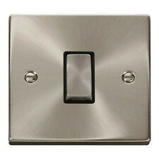 Click Deco 10 amp 1 gang 2 way Plate Light Switch Satin Chrome Black insert